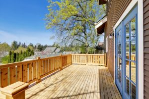 Salem New Deck Project with wooden fence all around