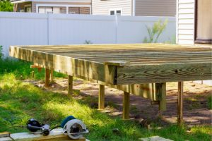 Salem New Deck Build with power tools on the ground
